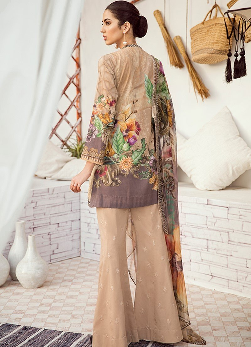 Iznik Chinon Vol-3 2019 suit ICL-08 - Beige Lawn Embroidered Shirt, Dyed Cambric Trouser and Chiffon Dupatta