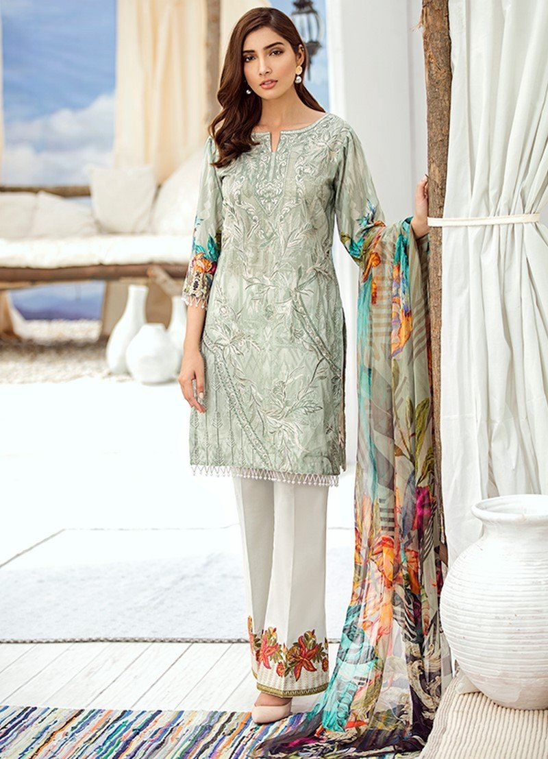 Iznik Chinon Lawn Vol-3 2019 suit ICL-09 Dusty Green