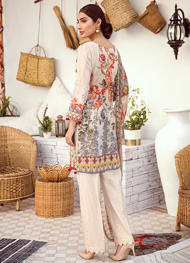 Iznik Chinon Vol-3 2019 suit ICL-11 Seed Pearl - White Lawn Embroidered Shirt, Dyed Trouser and Digital Dupatta