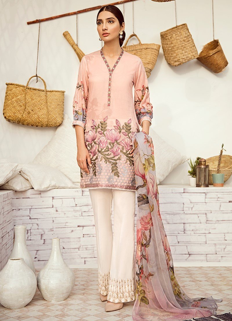 Iznik Chinon Lawn Vol-3 2019 suit ICL-12 Misty Rose