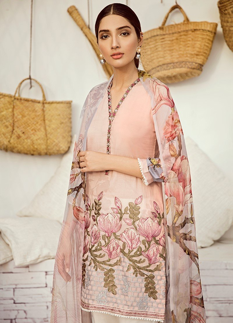 Iznik Chinon Vol-3 2019 suit ICL-12 - Pink Lawn Embroidered Shirt, Dyed Trouser with Patches and Chiffon Dupatta