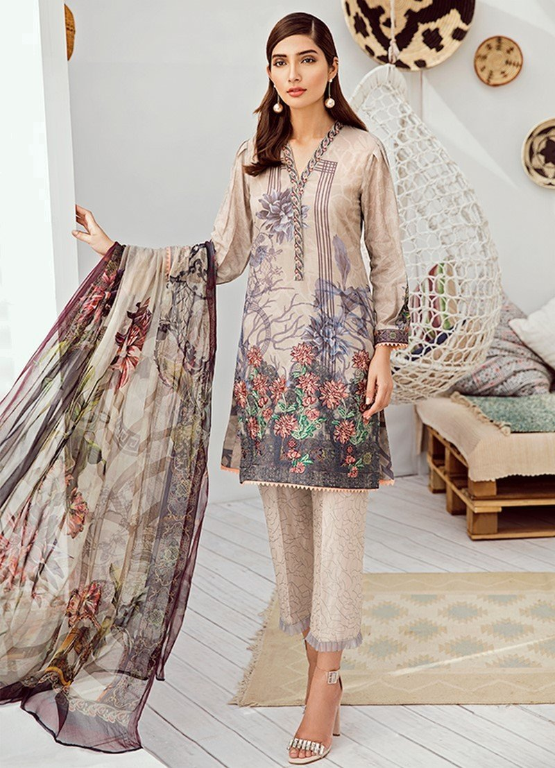 Iznik Chinon Lawn Vol3 2019 suit ICL-02 Earl Grey