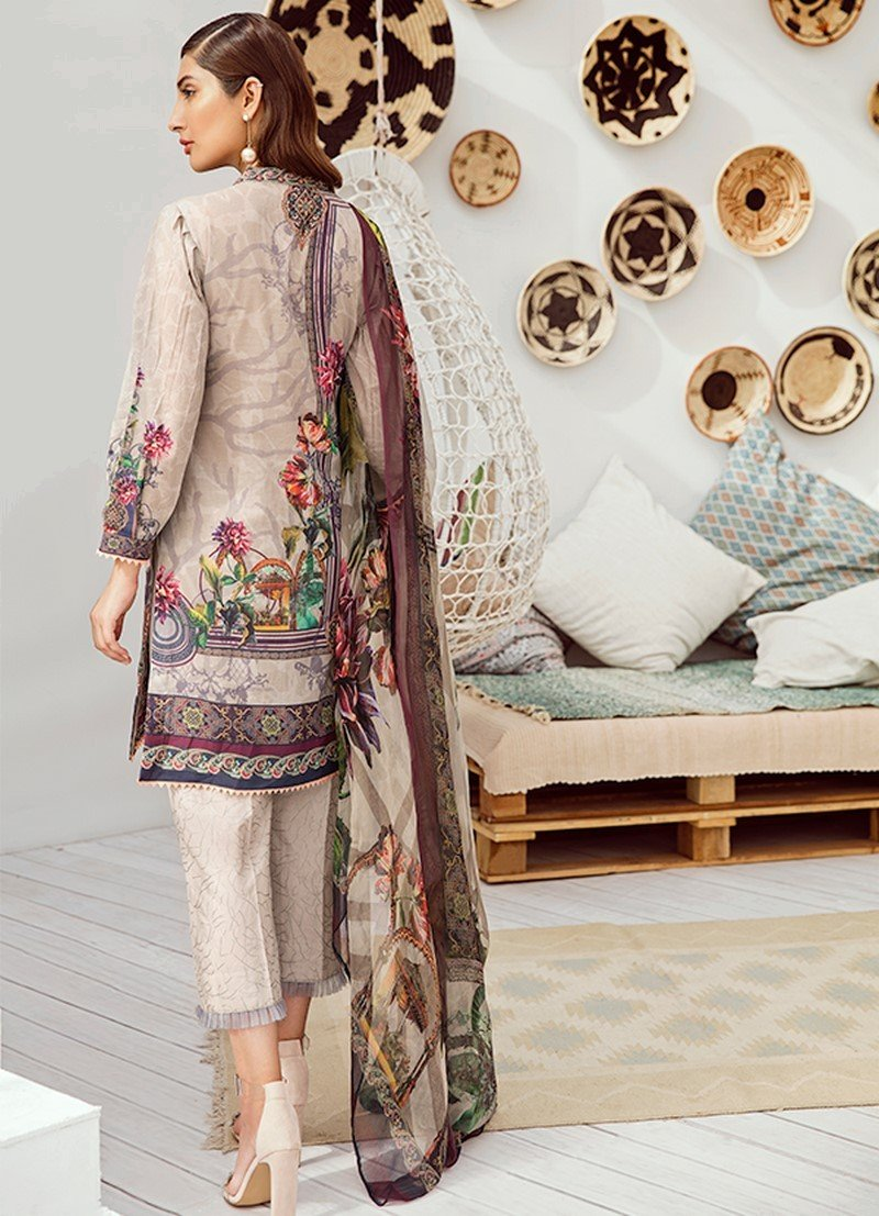 Iznik Chinon Vol3 2019 suit ICL-02 - Embroidered Lawn Beige Shirt, cambric trouser and printed chiffon dupatta