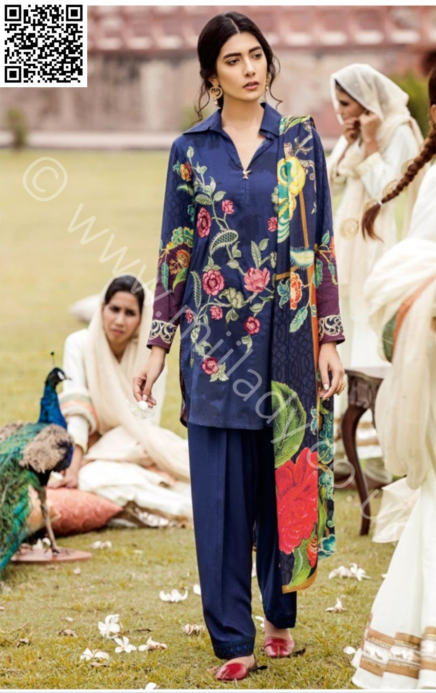 Iznik Linen Winter 2018 Midnight Blue (IW-11) - Printed Kameez with Organza Patch with Printed Shawl