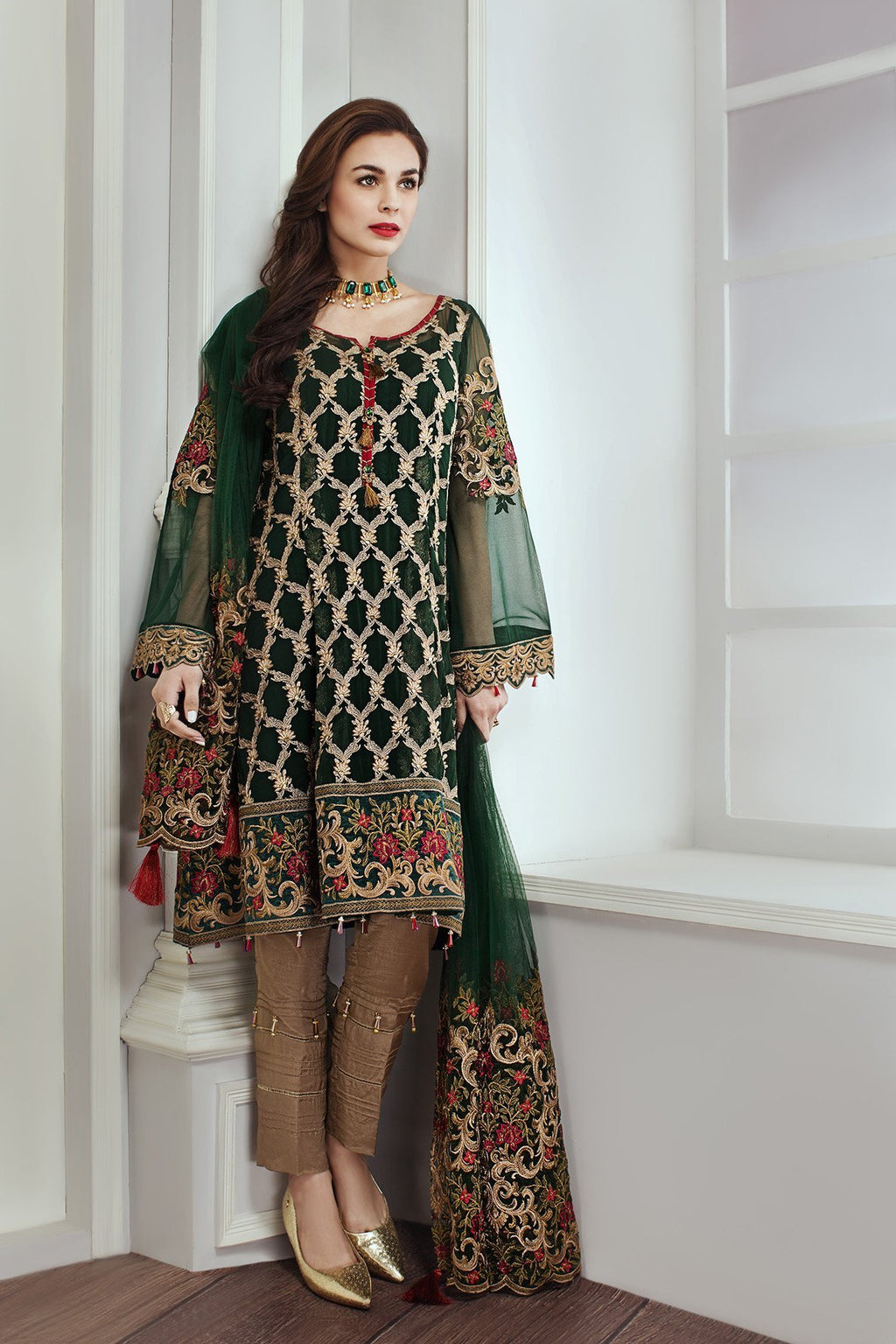 Jazmin designer suit Emerald Dew - Green colour embroidered chiffon kameez, Net dupatta and gold dyed salwar