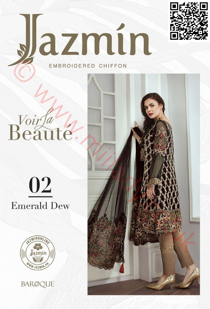 Jazmin Chiffon suit Emerald Dew D#02 - Black Chiffon kameez with embroidered Net dupatta