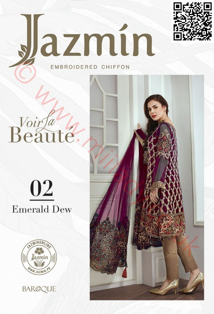 Jazmin Chiffon suit Emerald Dew - Purple Chiffon Shirt with embroidered Net dupatta