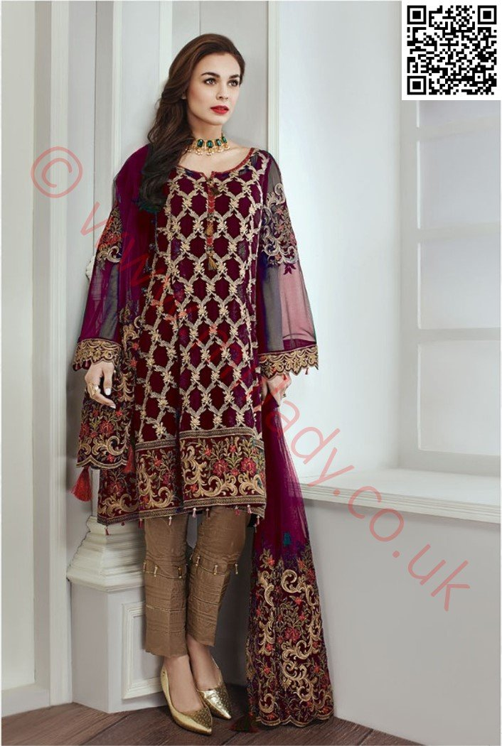 Jazmin Chiffon suit Emerald Dew - Purple Chiffon Embroidered kameez with Net dupatta