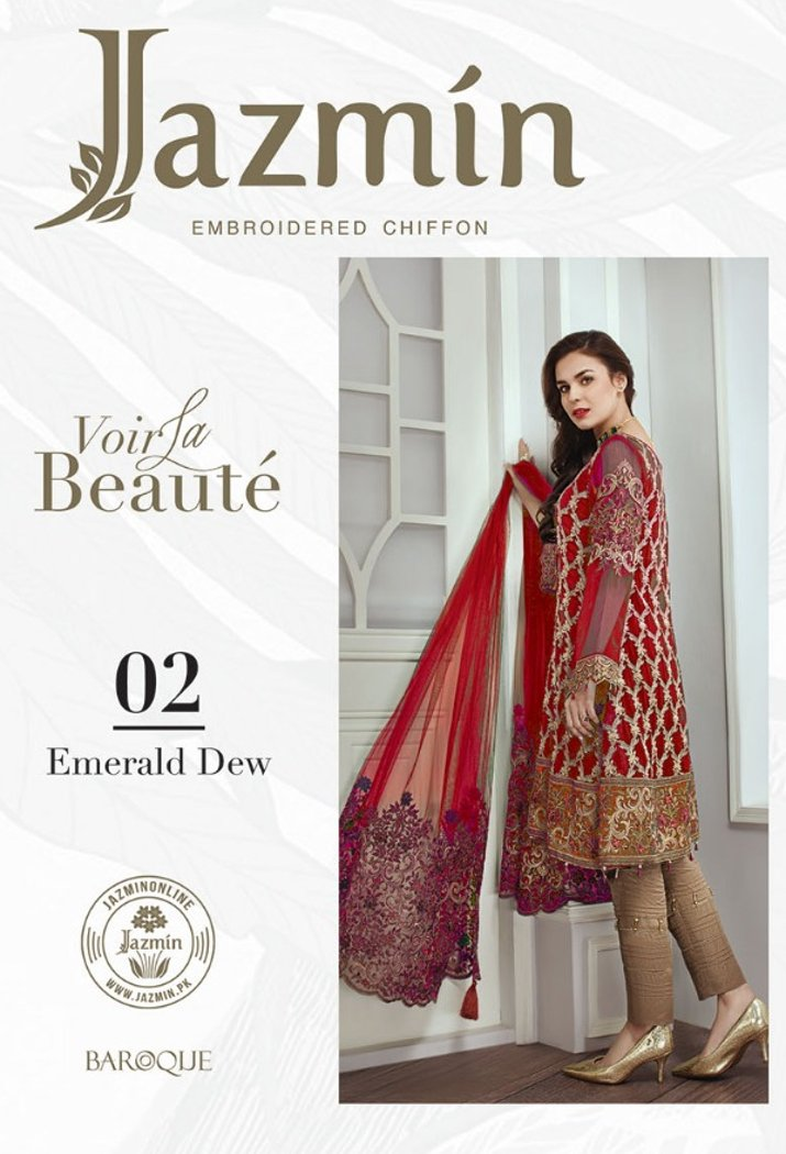 Jazmin Chiffon suit Emerald Dew - Red Salwar kameez with embroidered Net Pallu dupatta