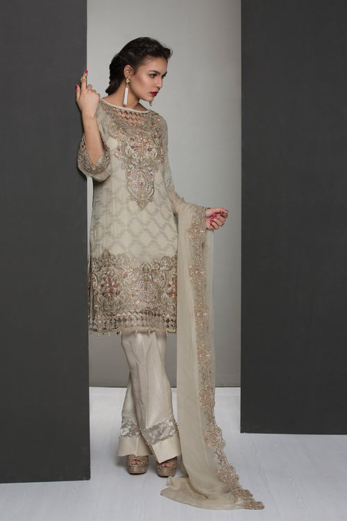 Jazmin Chiffon Vol-4 suit Touch of Sparkle - Embroidered Pure Chiffon Kameez with embroidered chiffon dupatta