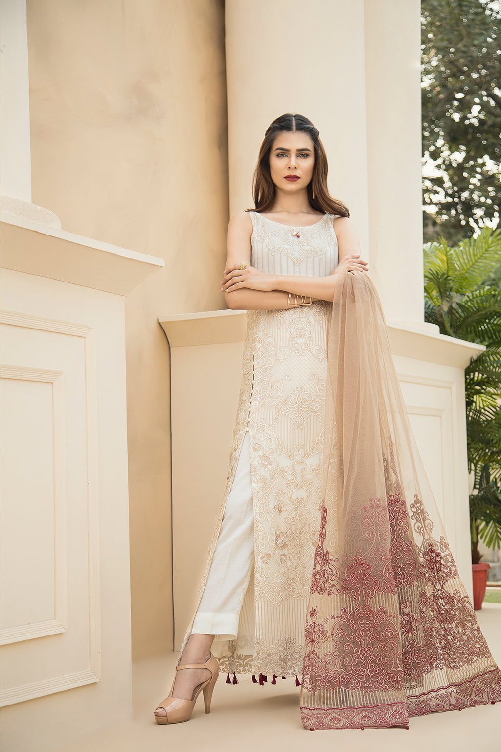 Jazmin Chiffon Vol-4 suit Touch of Terracota - Pure Chiffon embroidered kameez with Net Pallu dupatta