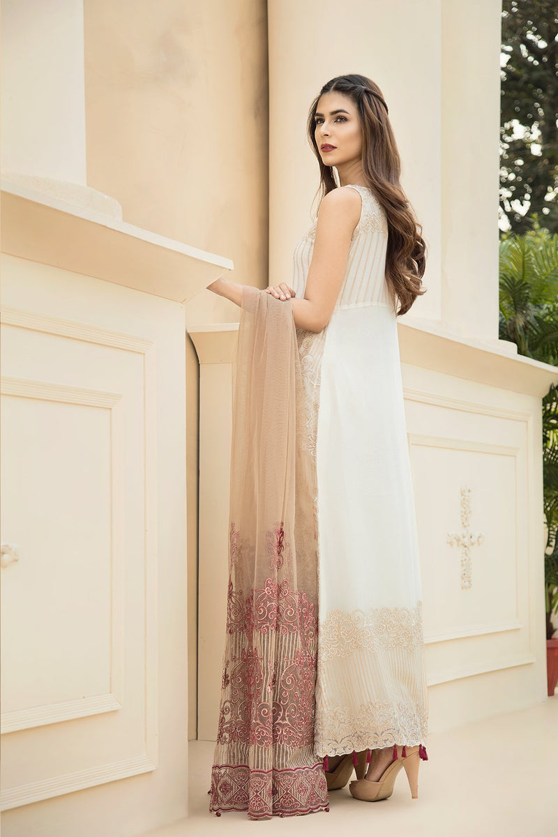 Jazmin Chiffon Touch of Terracota - Embroidered Salwar kameez, Net embroidered dupatta