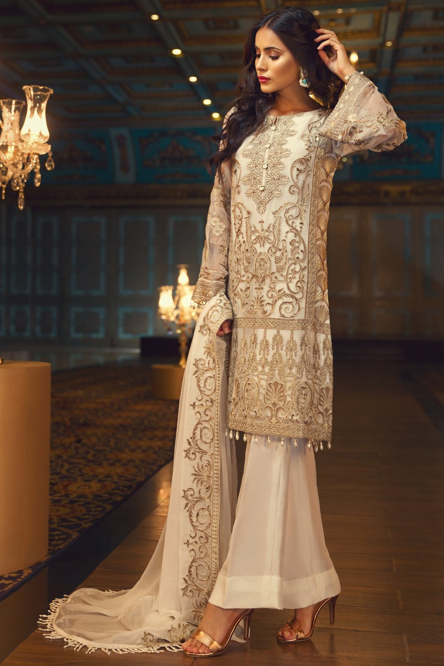 Jazmin Perle D'eau Chiffon suit Aslan - Cream Colour embroidered kameez with embroidered dupatta
