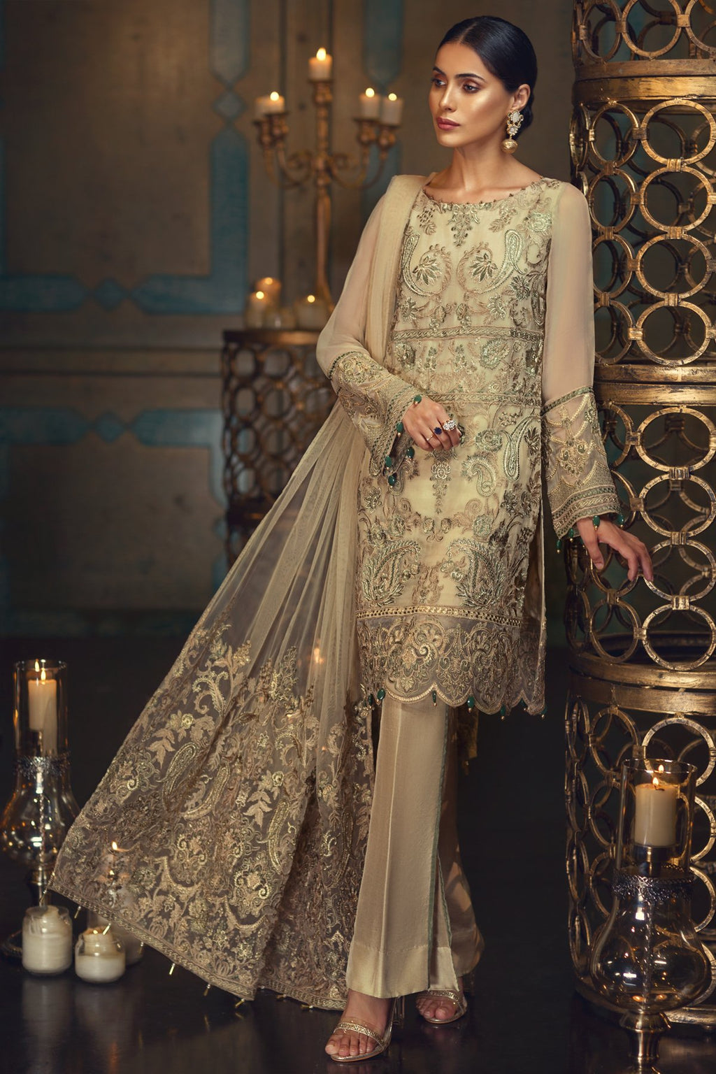 Jazmin Perle D'eau Chiffon 2018 suit Ivory Allure - Embroidered Kameez, Net Pallu Dupatta and Organza Trouser