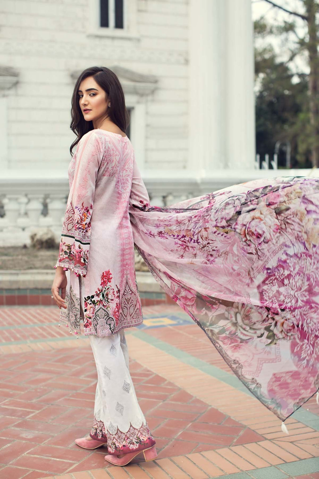 IRIS Summer Lawn 2019 suit Liliana - Embroidered lawn kameez, printed shalwar and chiffon dupatta