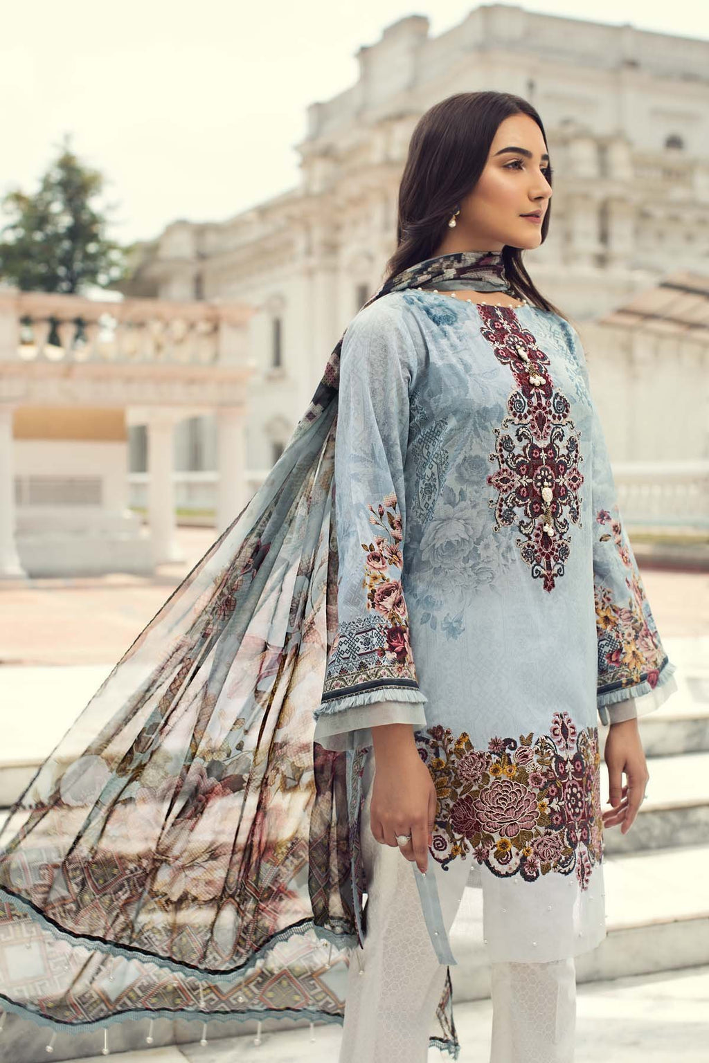 Jazmin IRIS Lawn Collection 2019 suit Clara - Embroidered blue lawn kameez with digital chiffon dupatta