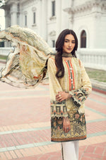 IRIS Summer Lawn 2019 suit Ivy Gold - Embroidered/Printed Lawn Kameez, trouser with patches and digital chiffon dupatta