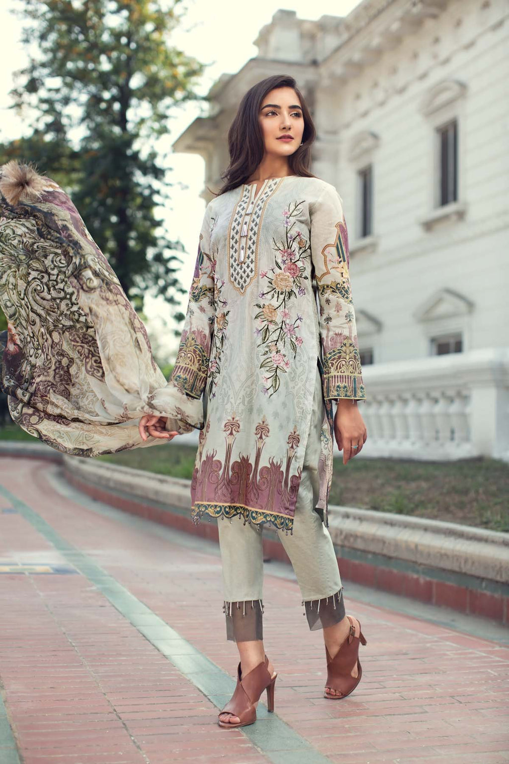 Jazmin IRIS Summer Lawn suit Fiona - Embroidered/Printed Lawn Kameez, dyed trouser with patches and printed chiffon dupatta
