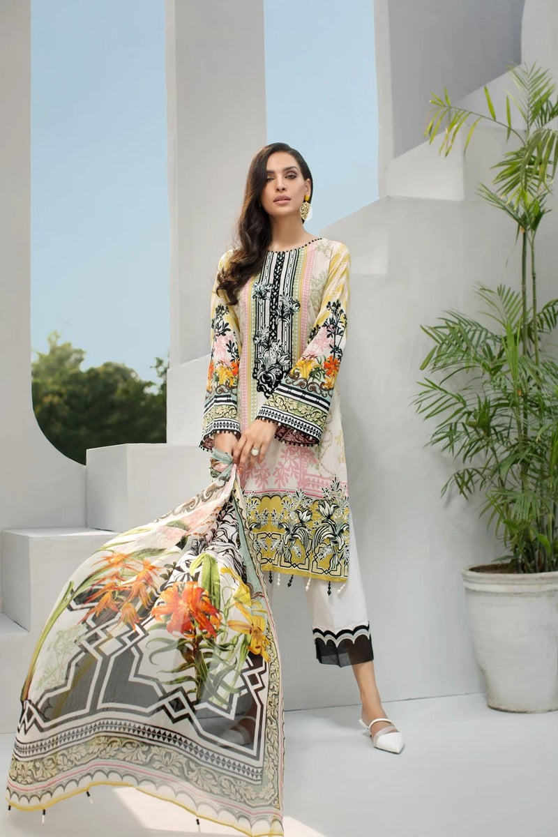 Jazmin IRIS Vol-2 2019 Lawn suit Arcadia - Embroidered, digital lawn kameez with chiffon dupatta