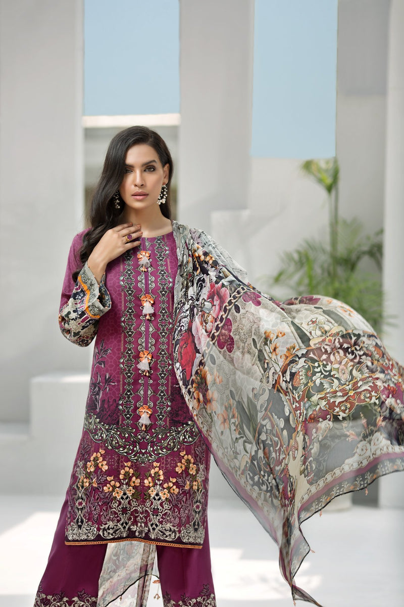 Jazmin IRIS Vol-2 2019 Lawn suit Grapevine - Embroidered plum lawn shirt, dyed trouser with patches and chiffon dupatta
