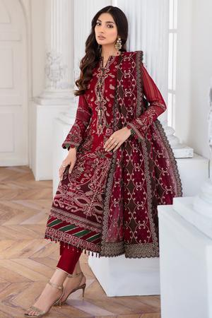 Jazmin Mahpare Collection 2020 suit Arash - Embroidered Chiffon Red shirt with embroidered dupatta