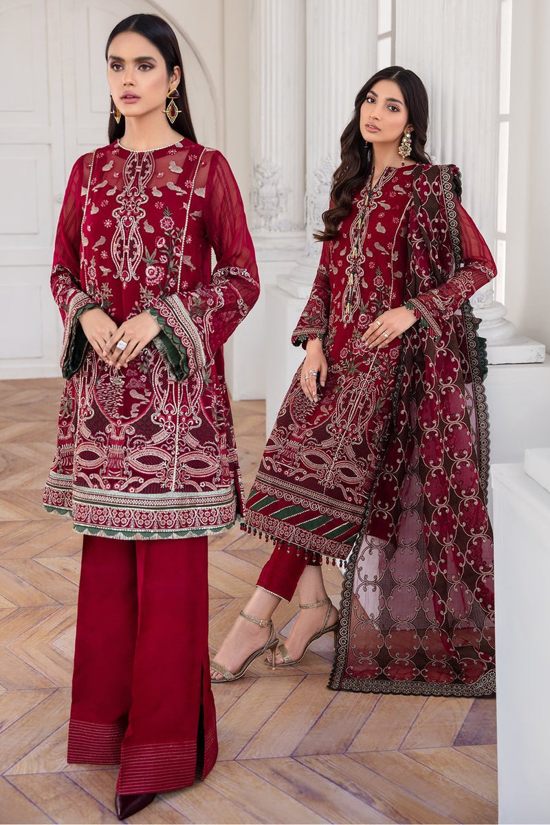 Jazmin Mahpare Luxury Collection 2020 Chiffon Red suit Arash