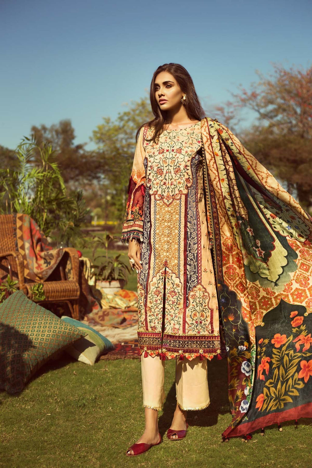Jazmin Lawn Persuit Of Wanderlust 2019 suit Mandarin - Embroidered Orange Lawn kameez with printed silk dupatta