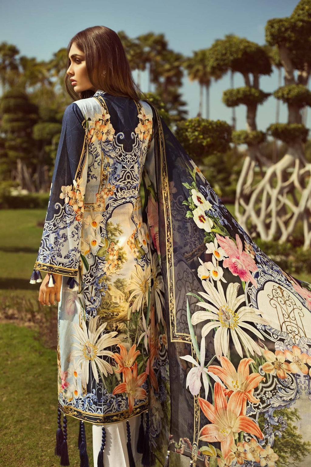 Jazmin Persuit Of Wanderlust Lawn suit 01 - Digital Kameez with embroidered patches, dyed trouser with patches and chiffon dupatta