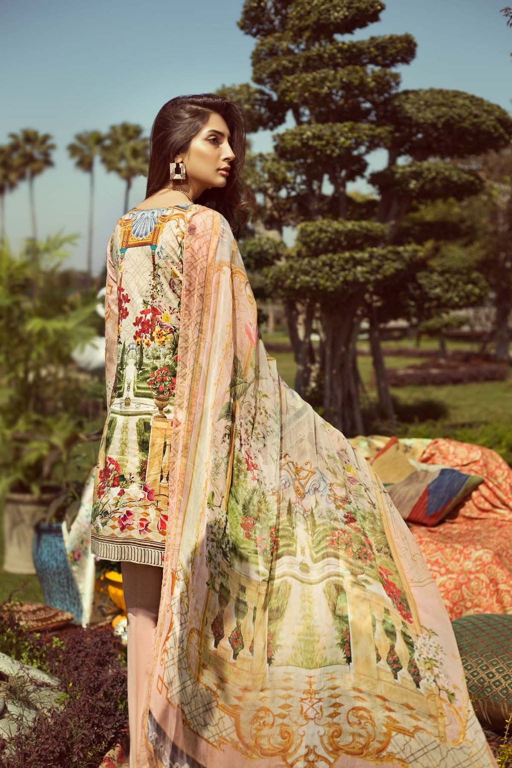 Jazmin Persuit Of Wanderlust suit Tropical Zest - Embroidered peach lawn kameez with chiffon dupatta  and dyed trouser with patches