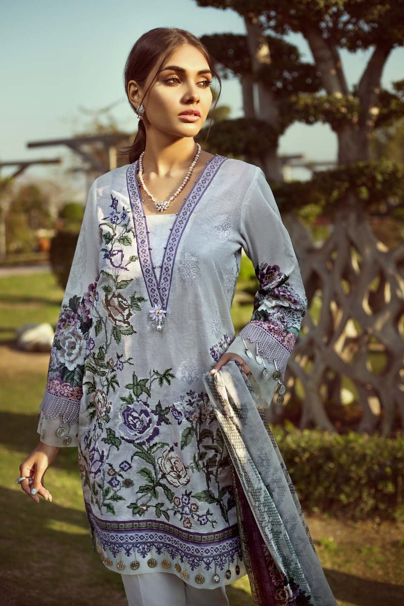 Jazmin Persuit Of Wanderlust suit Pansy - Embroidered lawn kameez with printed chiffon dupatta