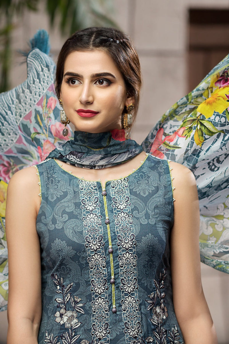 Jazmin Eid Lawn Suit 02 - Teal colour embroidered kameez with printed chiffon dupatta