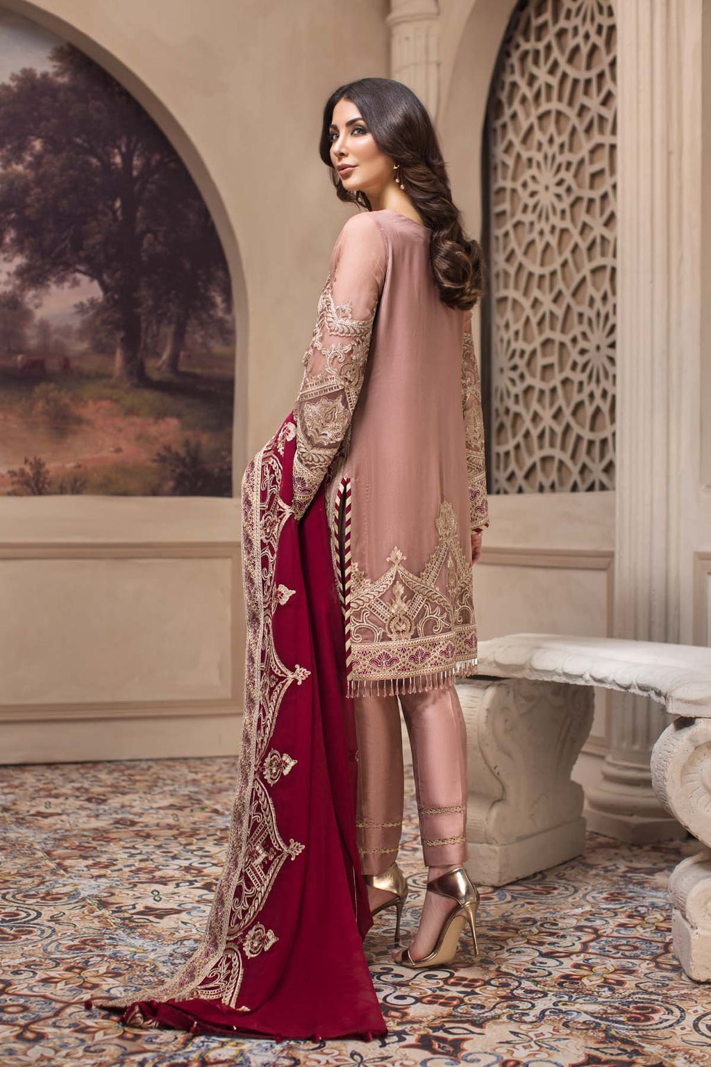 Jazmin SHAHNAMEH 2019 suit Cyra - Embroidered rusty pink chiffon shirt, silk trouser and embroidered chiffon dupatta