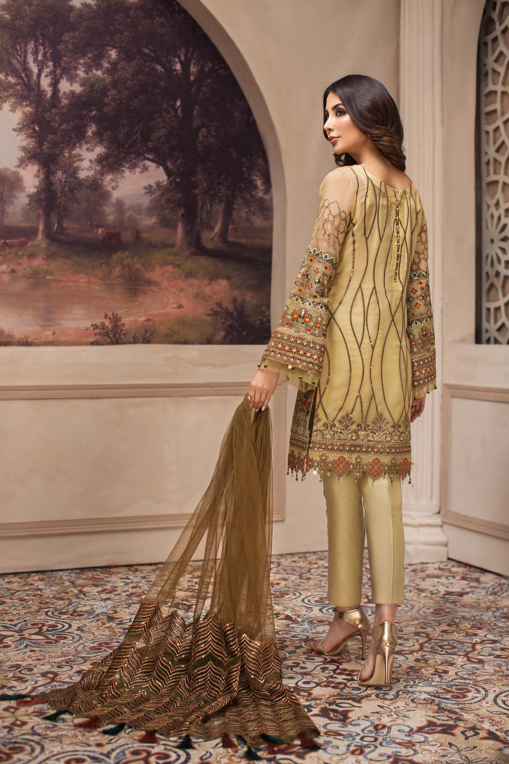 Jazmin SHAHNAMEH Eid 2019 suit Kashm - Embroidered Gold Pure Chiffon Shirt, Net Dupatta and Silk bottom