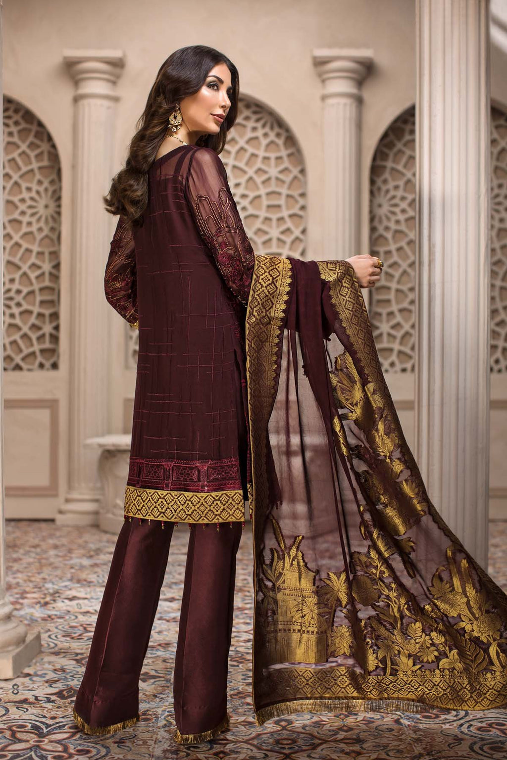 Jazmin SHAHNAMEH Eid Collection 2019 suit Royelle - Burgundy Embroidered Chiffon Kameez, Jamawar Chiffon Dupatta and Silk Trouser