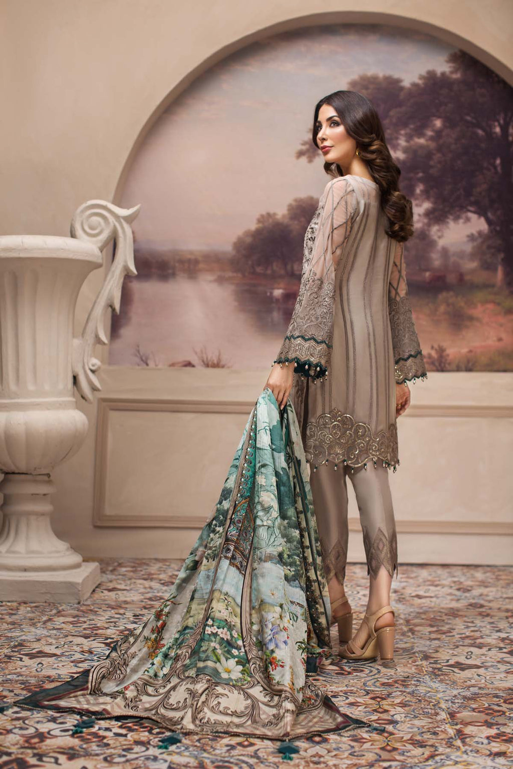 Jazmin SHAHNAMEH 2019 suit Shahwar - Embroidered beige chiffon kameez, silk trouser and embroidered net dupatta