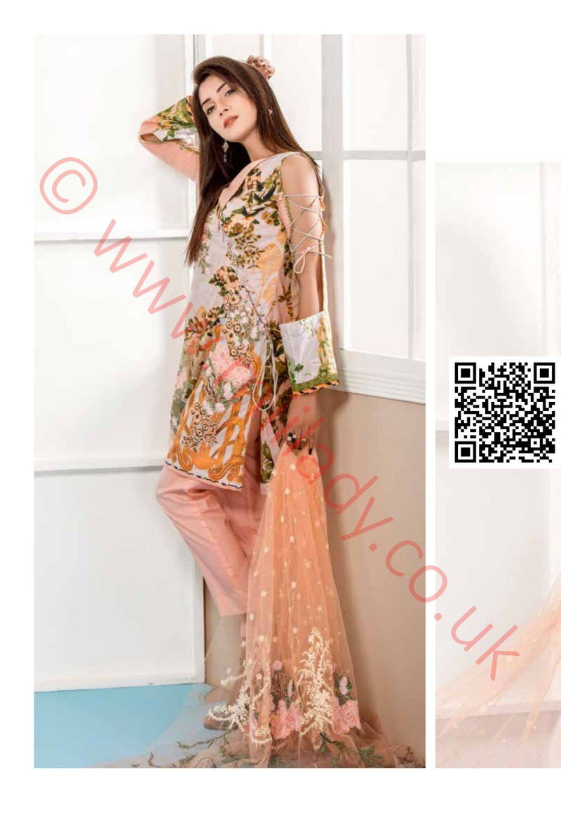Eshaeman Lawn Vol-2 2018 suit EE102 - Peach printed/embroidered kameez with embroidered Net dupatta