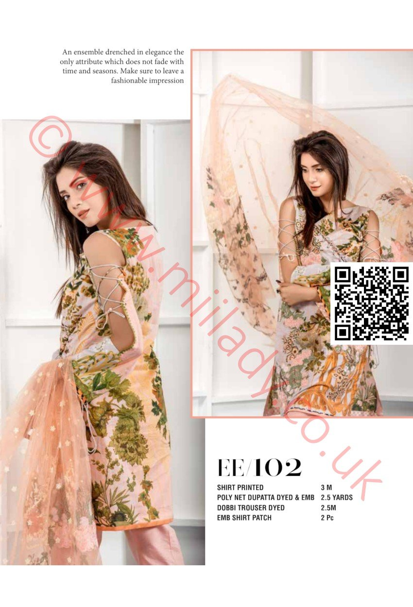 Eshaeman Lawn 2018 suit EE102 - Peach colour embroidered kameez with dobby shalwar