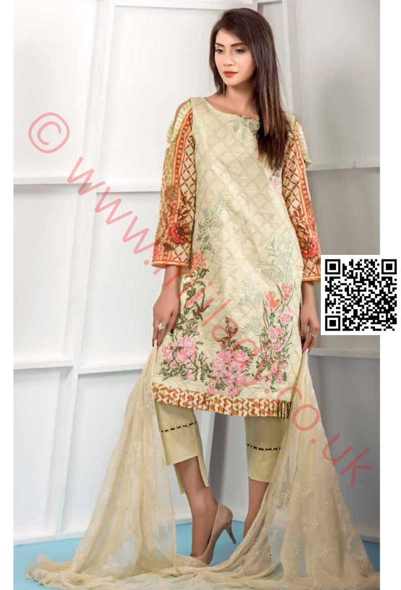 Eshaeman Lawn Vol 2 2018 suit EE106 - Embroidered Lawn kameez with schiffili dupatta