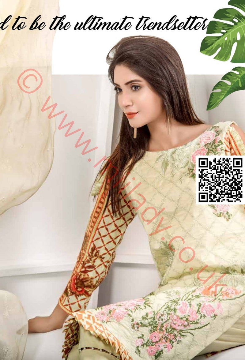 Eshaeman Lawn Vol 2 2018 suit EE106 - Printed/Embroidered kameez with chiffon dupatta