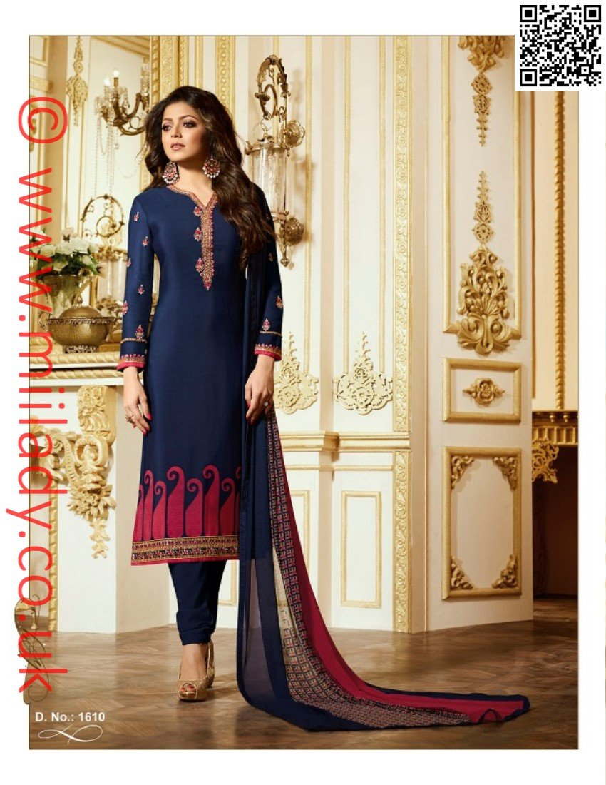 LT Nitya Vol 116 D-1610 - Embroidered blue colour shirt with printed chiffon dupatta