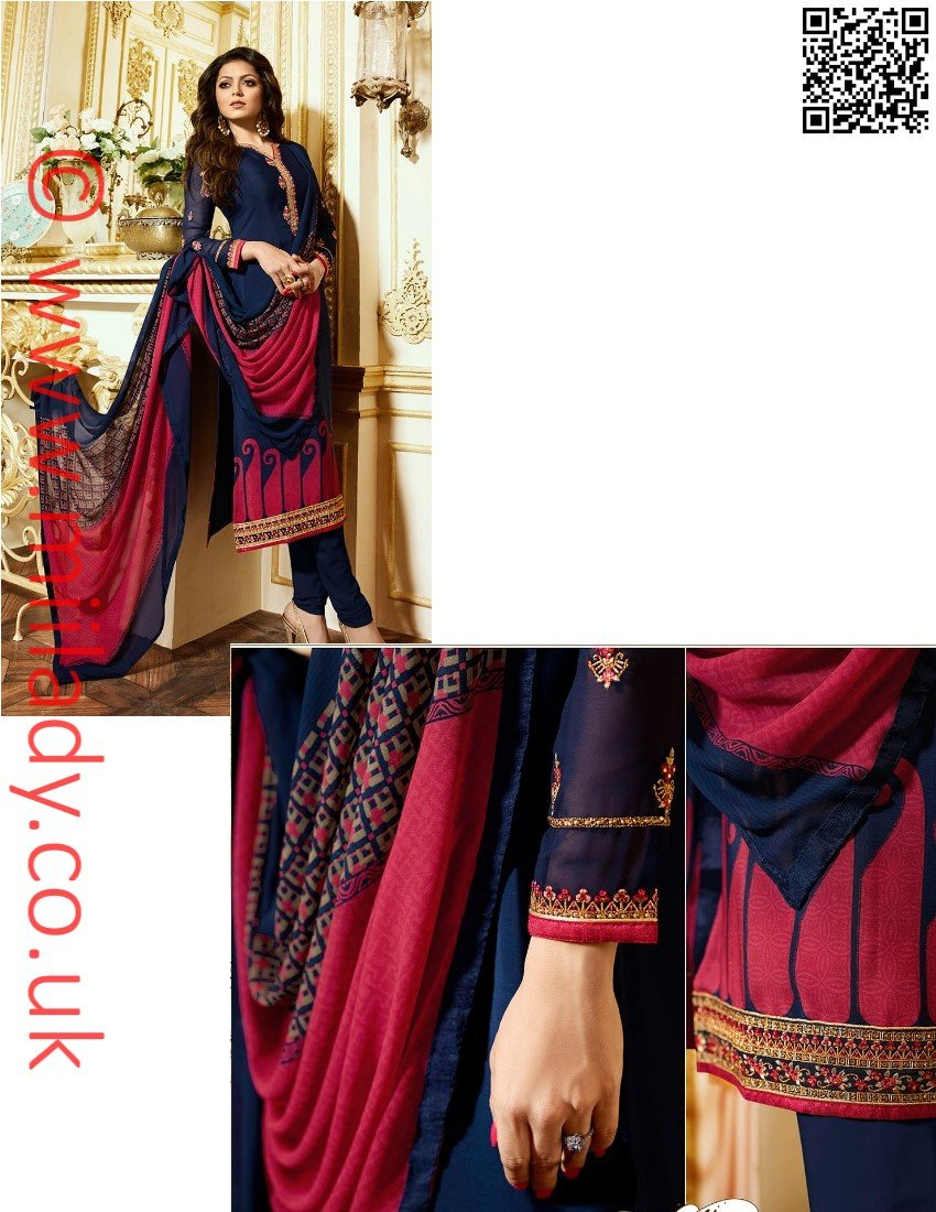 LT Nitya Vol 116 Design 1610 - royal crepe material - embroidered kameez with chiffon dupatta