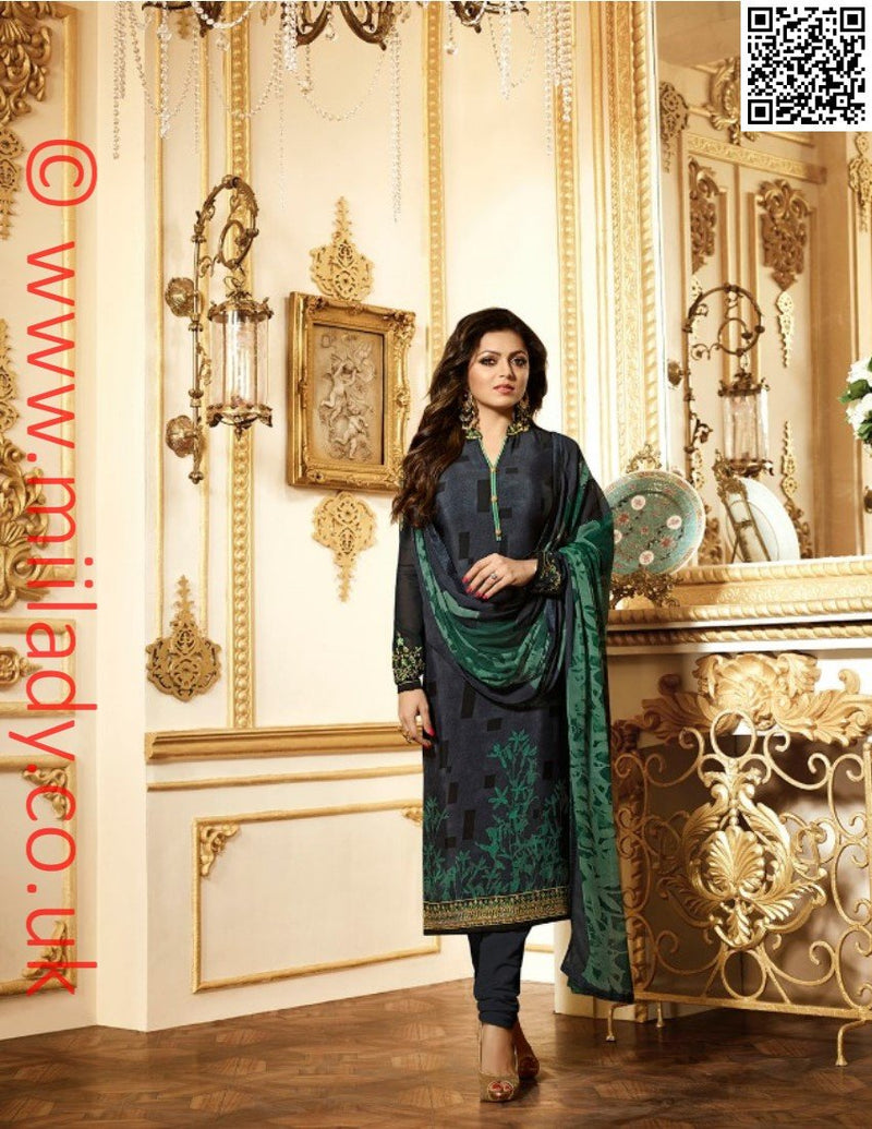 LT Nitya Vol 116 Design 1611 - Embroidered kameez with printed chiffon dupatta