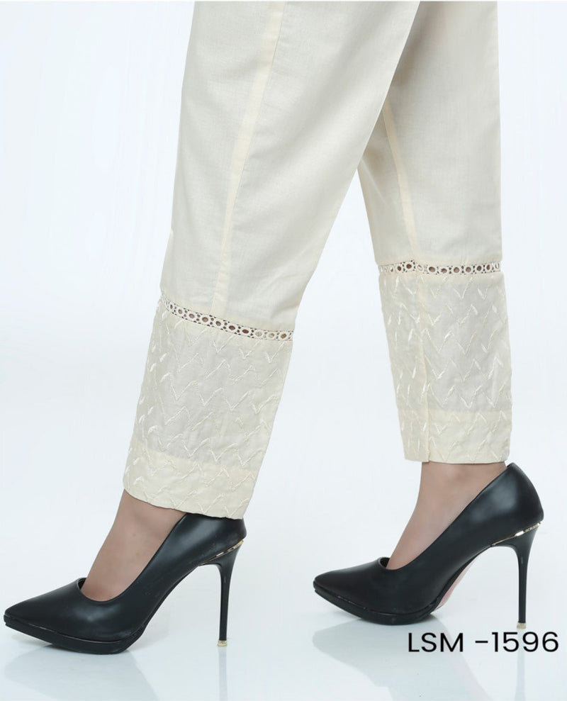 Lakhany Stitched beige nude colour Cotton Trouser LSM-1596