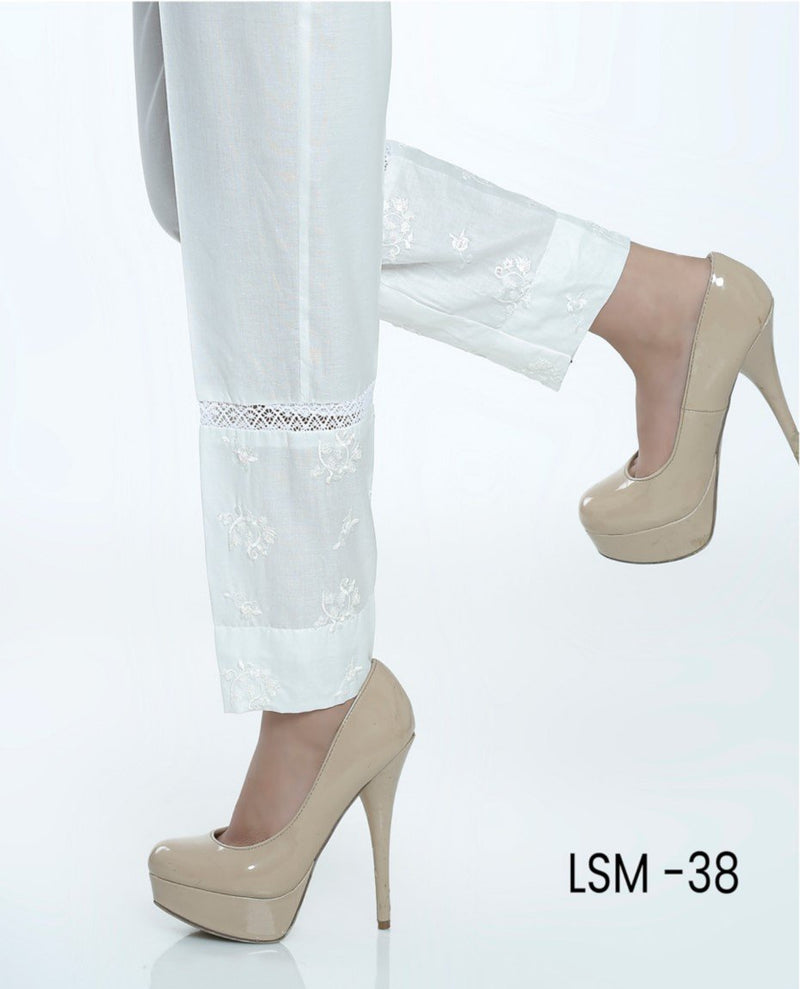 Lakhany Stitched White Cotton Trouser LSM-38