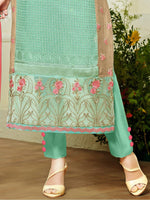 MF Embroidered Sea Green Georgette suit 76008