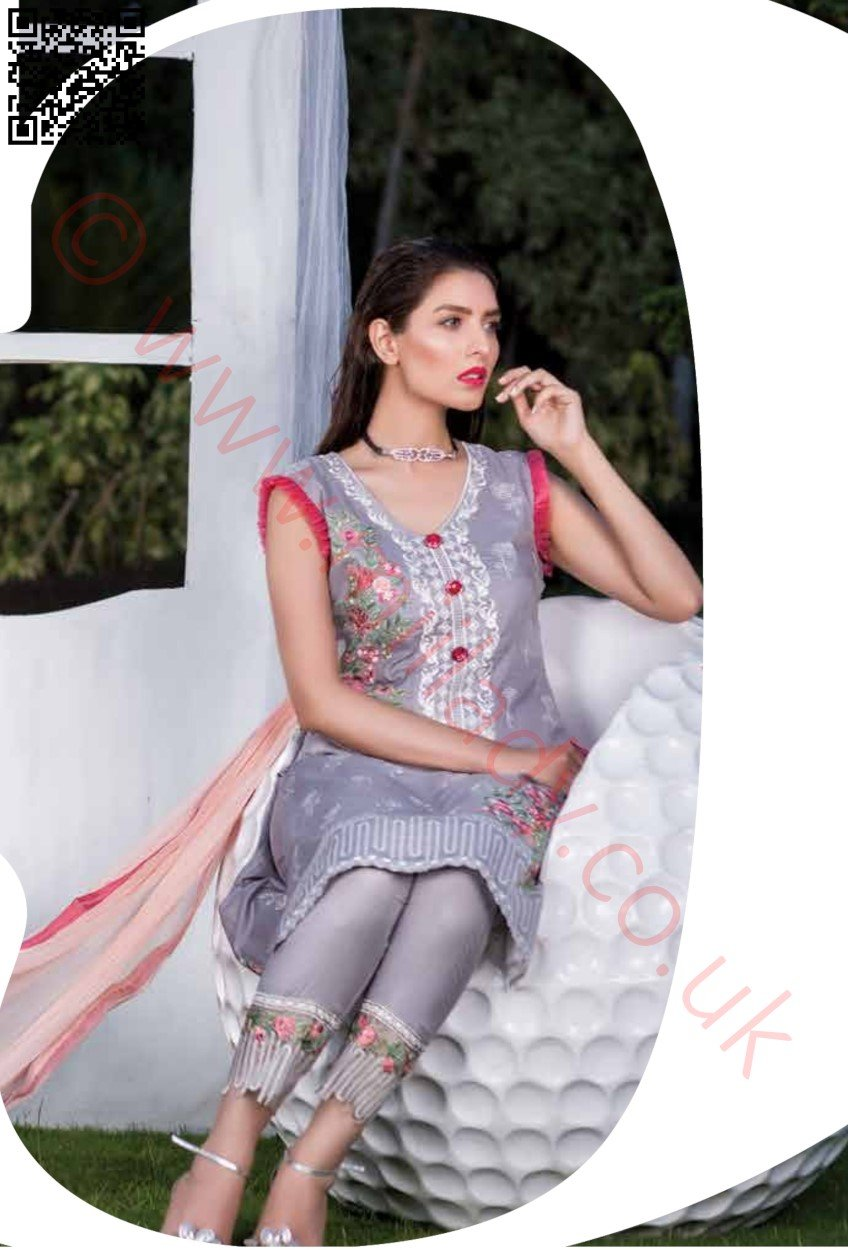 Manizay Embroidered Lawn Vol2 2018 suit D#05 - Grey salwar kameez with embroidered chiffon dupatta