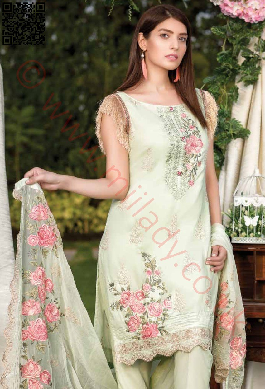 Manizay Premium Embroidered Lawn Vol2 2018 suit D#10 - Greem kameez with chiffon embroidered dupatta