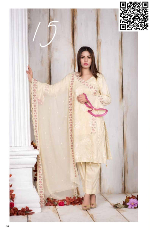 Manizay Lawn Vol3 2018 suit D#15 - Embroidered Cream kameez with chiffon dupatta