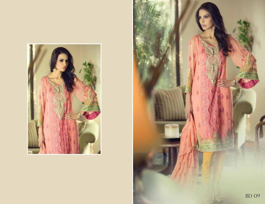 Maria B Embroidered Vol-2 suit BD09 - Coral