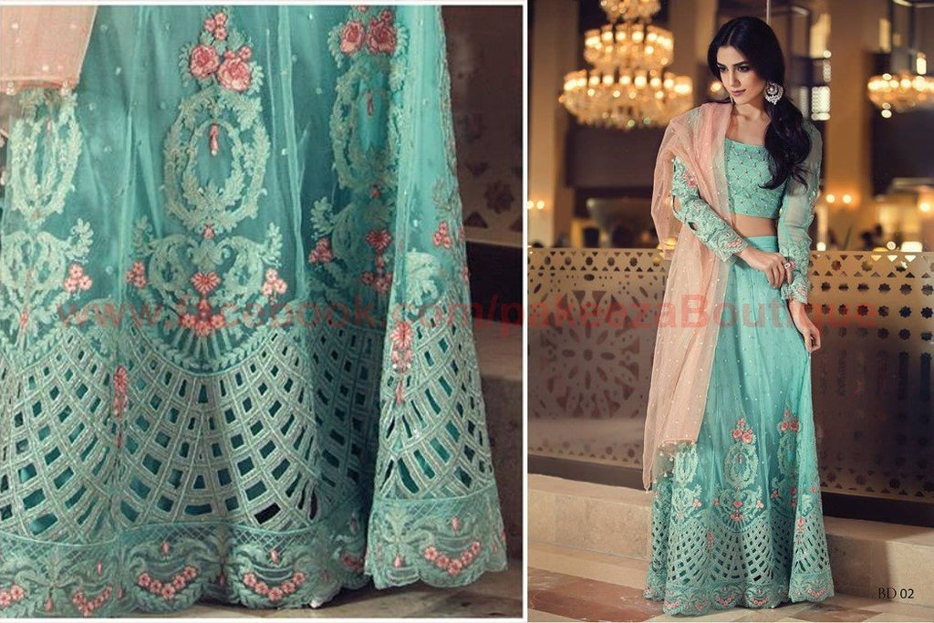 Maria B Embroidered 2016 Vol-2 suit BD02 - Turquoise Colour - Embroidered Kameez with embroidered Net dupatta